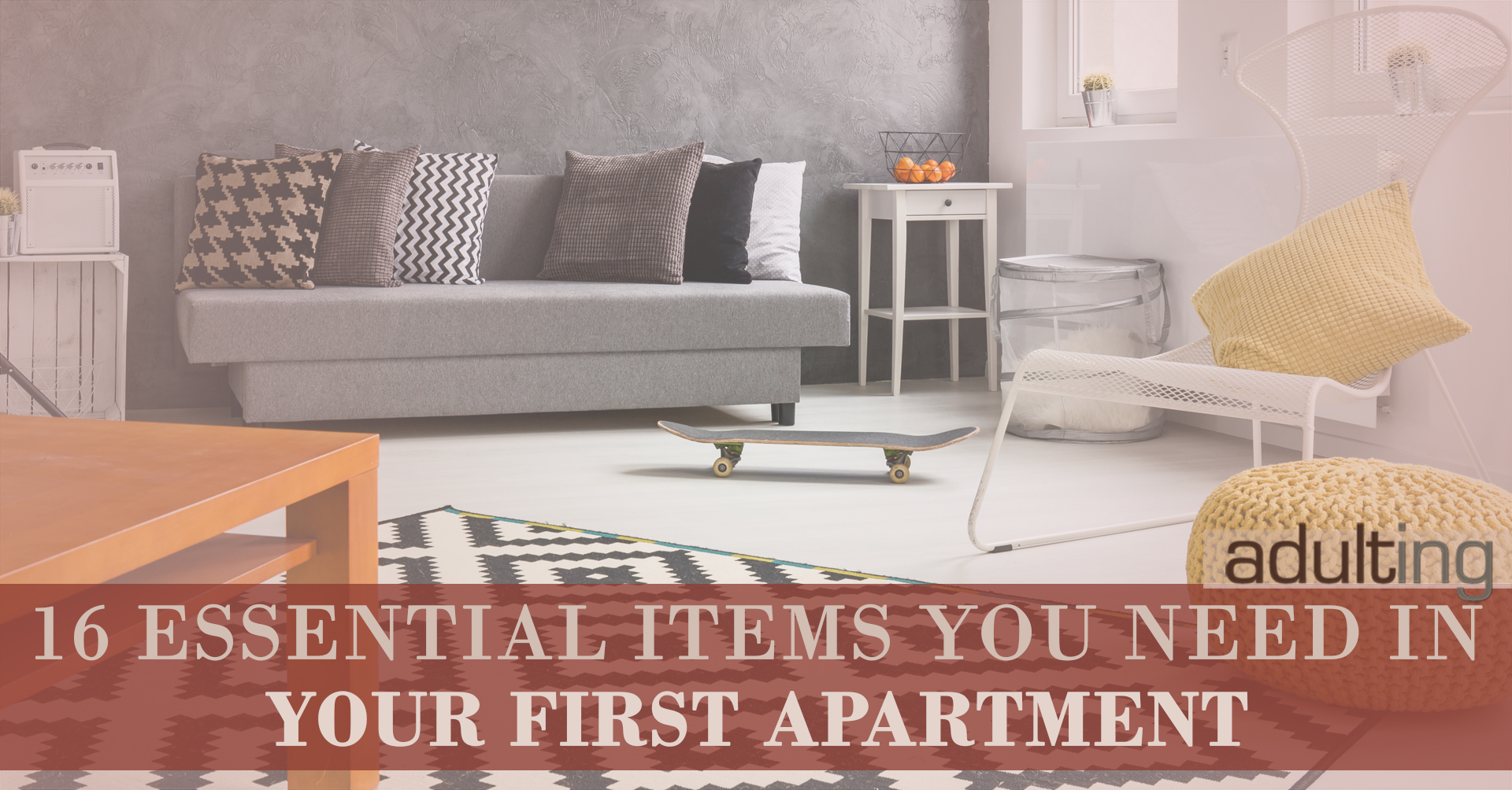 16 essential items you need in your first apartment adulting. Black Bedroom Furniture Sets. Home Design Ideas